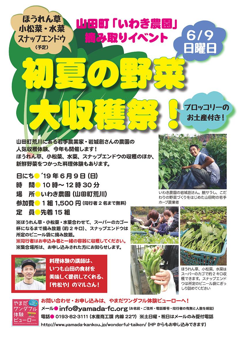 6/9(日)いわき農園の初夏の野菜大収穫祭!